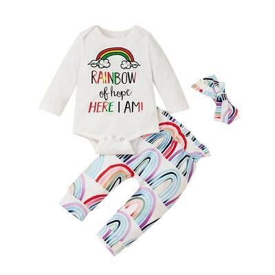 Newborn Infant Baby Girl Rainbow Jumpsuit Top Pants Headband Outfits Clothes Set • 10.54£