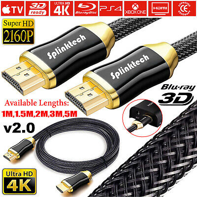 Premium 4k Hdmi Cable 2.0 High Speed Gold Plated Braided Lead 2160p 3d Hdtv Uhd • 3.85£