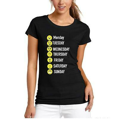 Womens T Shirt Week Days Funny Emoji Printed Short Sleeve Gym Wear Shirt 8171 • 6.99£