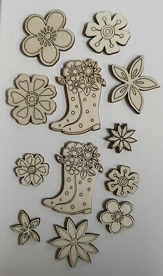 £1.99 • Buy Wooden Mdf Wellies And Flower Craft Shapes/Embellishments X12 Garden/festival