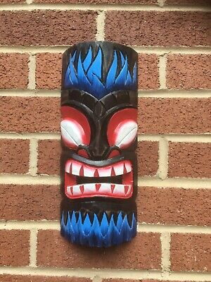 ChiselCraft Large 30cm Hand Carved Maori Wooden Hanging Tiki Mask Tribal Art D • 10.99£