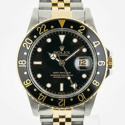 $ CDN13356.32 • Buy Rolex GMT-Master, Ref 16753, Men's, Stainless Steel And 18K Yellow Gold, Black