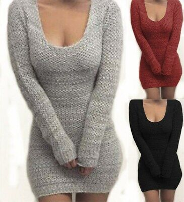 UK Womens Sexy Jumper Mini Dress Bodycon Ladies Winter Long Sleeve Sweater Tops • 10.99£