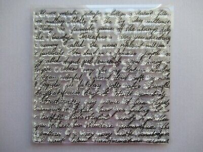 NEW Clear Acrylic Unmounted Stamp - Script / Handwriting Background Design • 3.99£