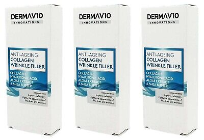 Derma V10 Deep Wrinkle Anti-Ageing Collagen Filler Face Cream 15ml 3 Pack • 6.99£