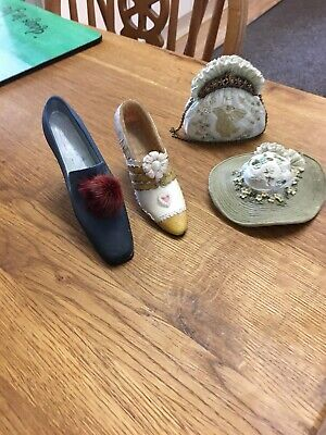 Just The Right Shoe Bundle Of 4 Ceramic Shoes Bag Hat • 4£