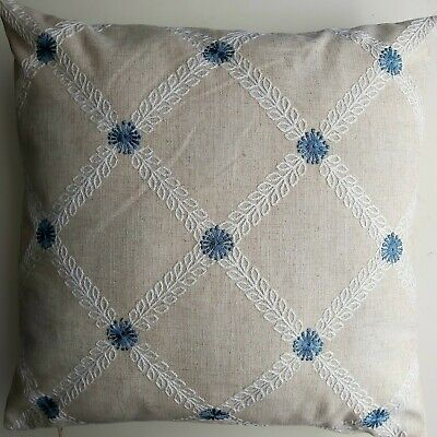 Embroidered Linen Cushion Cover . Meadow, Flowers 45x45cm  • 4.50£