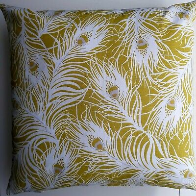 Cushion Cover,  Yellow Peacock Feather   45x45cm • 4.10£