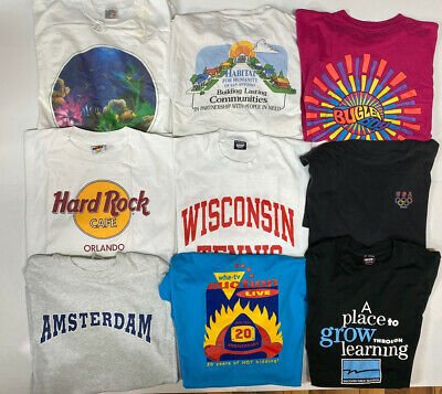 $ CDN98.85 • Buy Lot Of 9 Vintage 90s Single Stitch T Shirts Adult Size XL Graphic Tees Made USA