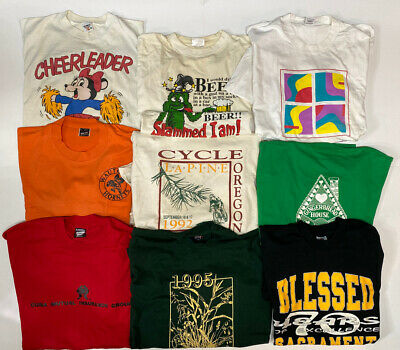 $ CDN87.97 • Buy Lot Of 9 Vintage 80s 90s Single Stitch T Shirts Adult Size XL Graphic Tees Used