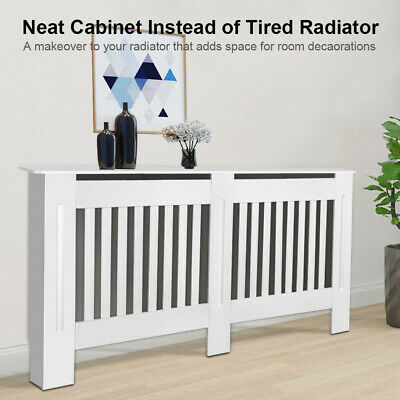 £35.99 • Buy White Radiator Cover Cabinet Large Modern MDF Slat Wood Grill Furniture New