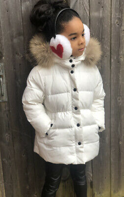 £45 • Buy Girls White Duck Down Coat With Real Fur Hood Trim Age 5