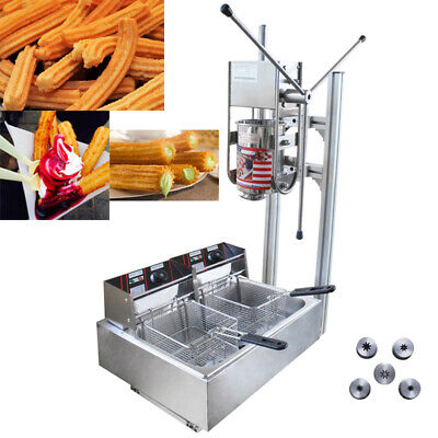 Commercial Manual Churros Machine Spanish Donuts Churrera Maker W/ 12L Fryer US • 599.04£