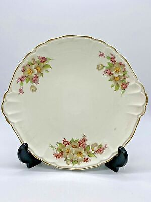£10.99 • Buy Vintage Bovey Pottery Pretty Gilt Edged Wild Rose Patterned Serving/Cake Plate