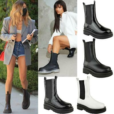 £28.99 • Buy Womens Platform Chelsea Chunky Boots Pull On Elasticated Calf High Winter Shoes