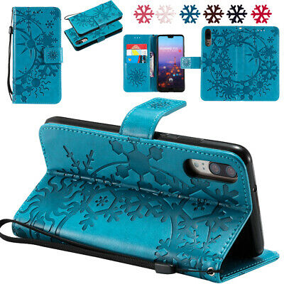 Case Cover Leather Stand Flip Embossed Snow Relief For Huawei P20 P9 P8 P10 Lite • 4.38£