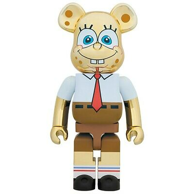 $1350 • Buy Medicom BE@RBRICK Nickelodeon SpongeBob SquarePants Gold Chrome 1000% Bearbrick