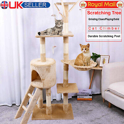Cat Tree Kitty Activity Play Center Scratching Scratcher House Furniture 140CM • 30.99£