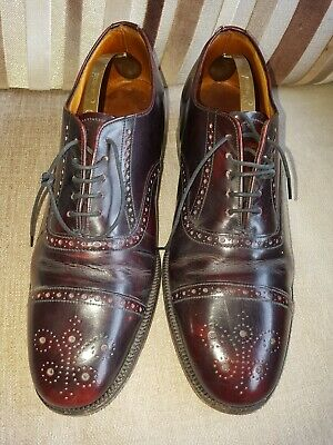 Vintage Sanders  Brogue Shoes Size UK 8 Mens  Leather Lace Up Used Brown/red • 15£