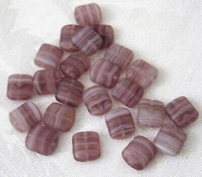 AU3.90 • Buy Lot Of 20 Czech Glass Purple Frosted Flat Square Beads 10 X 4 Mm