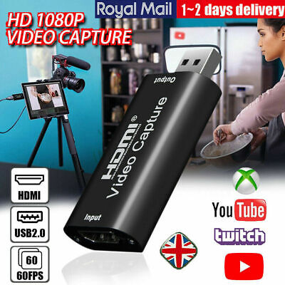 HDMI To USB Video Capture Card USB 2.0 1080P HD Recorder Game/Video Recording UK • 7.92£