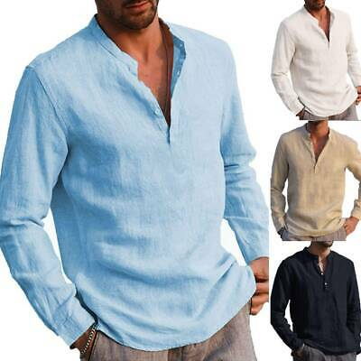 Mens Collarless Shirts Long Sleeve T Shirt Grandad Button Pullover Tops Shirts • 11.49£