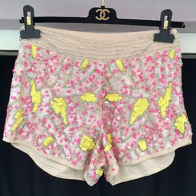 Topshop Heavy Embellished Shorts Size 8 Nude Pink Yellow Festival Beaded Sequin • 20£
