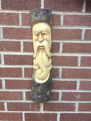 ChiselCraft 50cm Large Green Man Curly Face Wood Carving Tree Log Plaque B • 19.99£