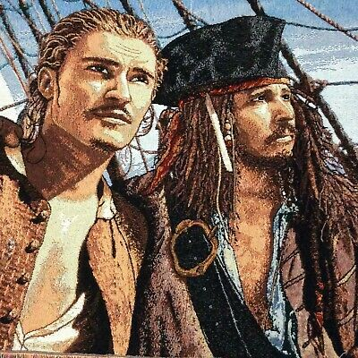 Disney Pirates Of The Caribbean Tapestry Throw Blanket Jack Sparrow Will Turner • 24.80£