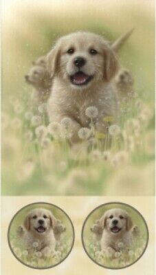 Sweet Yellow Labrador Dandelions Puppies Dogs Artworks Quilt Fabric Panel • 12.02£