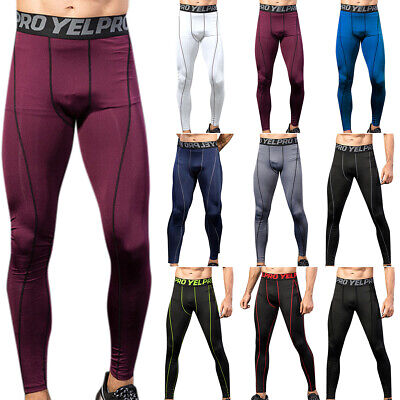 Mens Compression Base Layer Leggings Running Sport Gym Pants Stretch Trousers UK • 11.20£