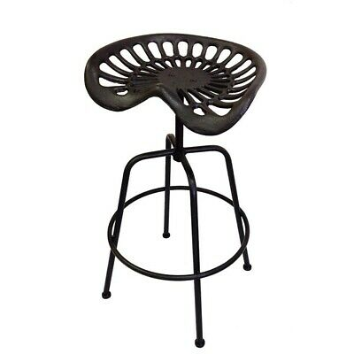 AU404.95 • Buy 2 Pieces Industrial Black Cast Iron Tractor Seat Bar Stools 42x81cm