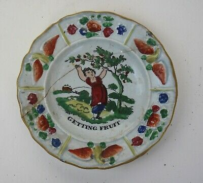 EARLY STAFFORDSHIRE PEARLWARE CHILDS PLATE Creamware C.1820 • 10£
