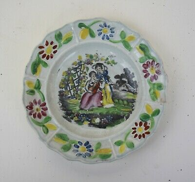 WONDERFUL EARLY STAFFORDSHIRE PEARLWARE CHILDS PLATE Creamware C.1820 • 23£