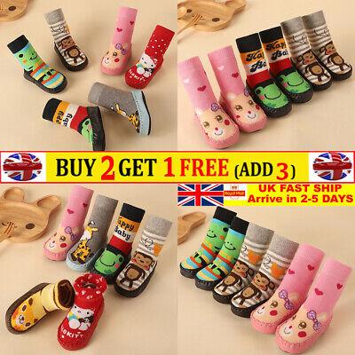 Girls Baby Toddler Kids Anti-slip Crawling Cartoon Socks Shoes Slipper Boots UK • 4.99£