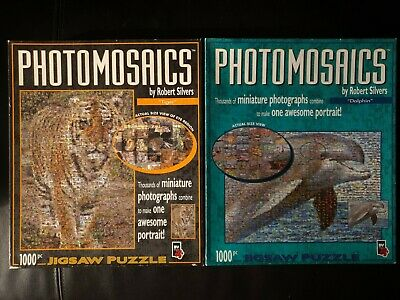 £24.95 • Buy 2 X PHOTOMOSAICS TIGER AND DOLPHIN BY ROBERT SILVERS 1000 PIECE JIGSAW PUZZLE