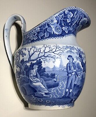 Spode C1820 Large Woodman Pattern Blue Transfer Pearlware Jug • 50£