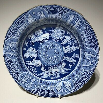 Greek Pattern C1810 Pearlware Soup Plate Not Spode/ Herculaneum #2 Cracked • 9.99£