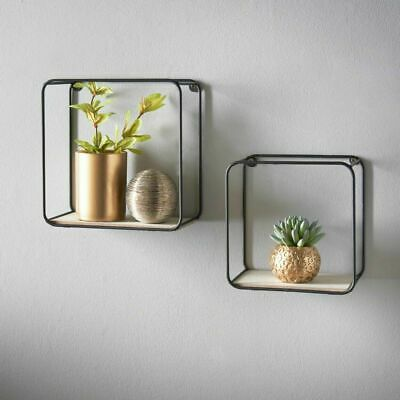 £9.99 • Buy Metal Wire Floating Wall Shelf Multi Section Home Decor Set Of 2 Gold / Black