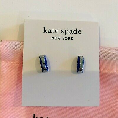 $ CDN21.14 • Buy Kate Spade New York Sliced Scallops  Silver, Blue Half Circle Earrings ,studs
