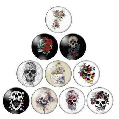 £2.99 • Buy 10 Skull Flower Rose Cabochons Mixed Round Glass Cabochon Flat Back Crafts