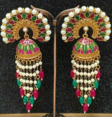 Indian Jewellery Bollywood Designer Traditional Bridal Big Earring Gold Pearl • 10.99£