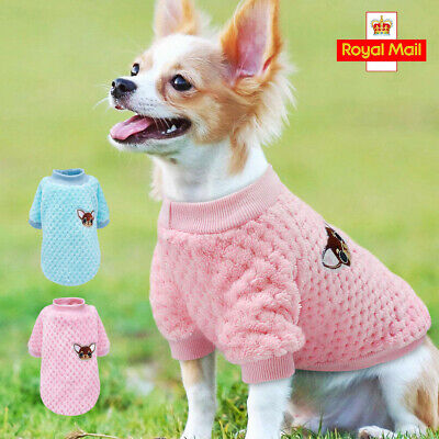 Dog Knitted Jumper Embroidery Chihuahua Clothes Pet Puppy Cat Sweater For Yorkie • 5.19£