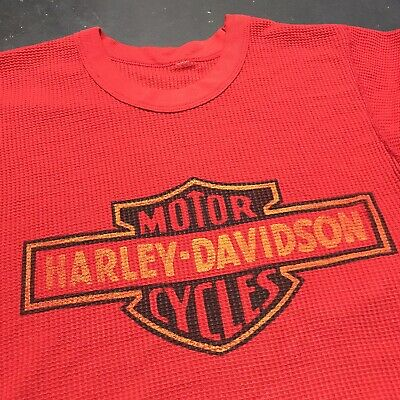 $ CDN329.99 • Buy Vintage 1970s Harley Davidson Shirt S/M 18X27 Waffle 3D Emblem Union Colorado MC