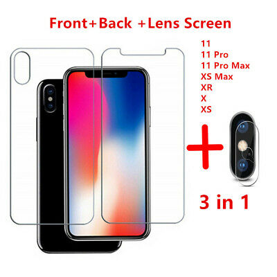 AU3.09 • Buy Front+Back +Lens Screen Protector Protective Tempered Glass For Iphone XS 11 Pro