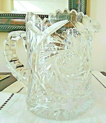 $44.99 • Buy Vintage 1900s American Brilliant Period Cut Lead CRYSTAL PITCHER