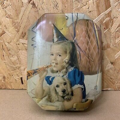 Vintage Blue Bird Toffee Sweet Biscuit Tin - Little Girl With Dog - 14 X 11cm • 3.50£