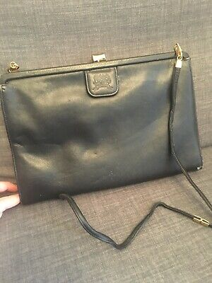 JANE SHILTON Vintage Black Leather Handbag Clutch Bag • 0.99£