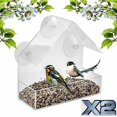 £9.95 • Buy 2 X Window Bird Feeder Wild Table Hanging Suction Perspex Clear Viewing Seed Nut