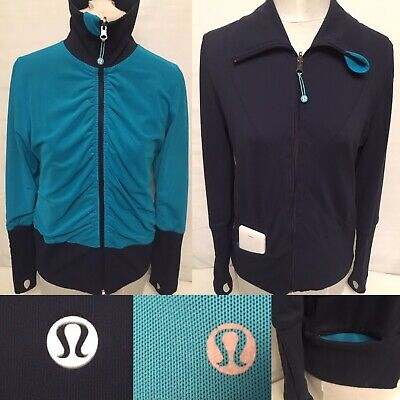 $ CDN39.99 • Buy Lululemon Mesh Jacket Raja Reversible Turquoise & Navy Blue FullZip Women Size 8